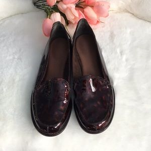 Stuart Weitzman Tortoise Patent Leather  Loafers